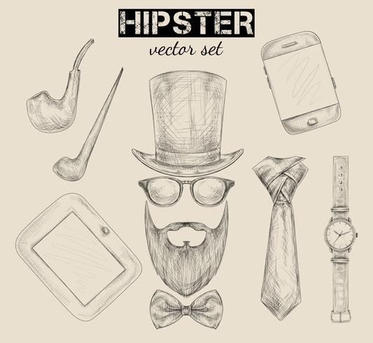 Ensemble d'accessoires hipster dessinés à la main vecteur