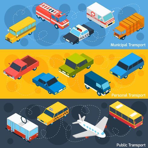 Transport isometric bannière set vecteur