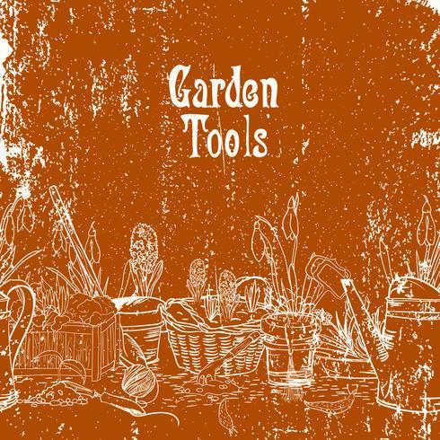 Affiche dessiné main avec outils de jardinage vecteur