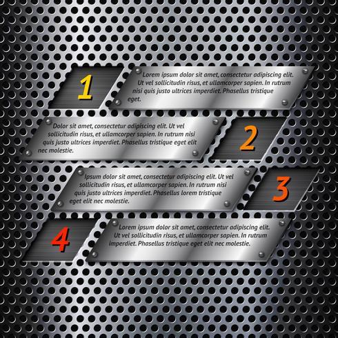 Modèle d'infographie en métal abstrait vecteur