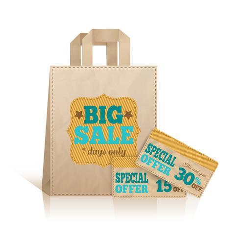 Grand sac à provisions en papier vecteur