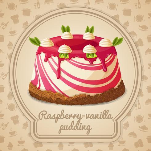 Étiquette pudding framboise vanille vecteur