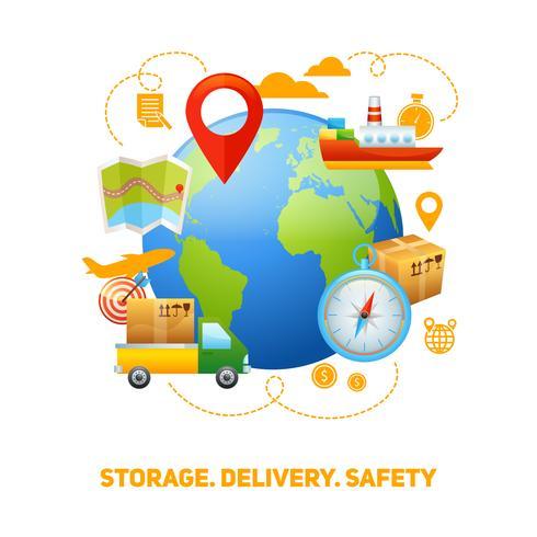 Illustration de conception concept global logistique vecteur