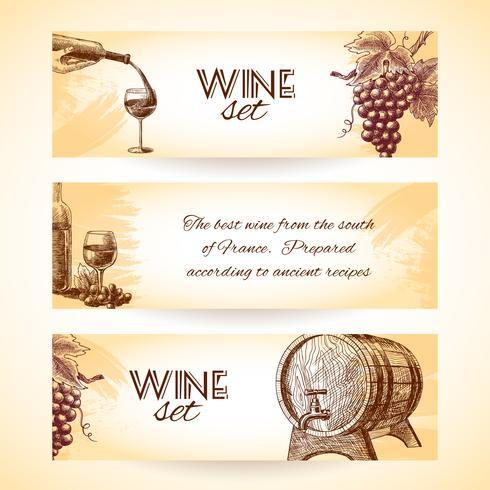 Bannières de croquis de vin vecteur