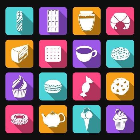 Bonbons plats icônes définies vecteur