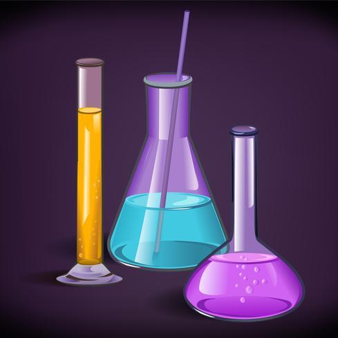 Modèle d'impression de verrerie de laboratoire vecteur