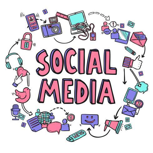 Concept de design de médias sociaux vecteur