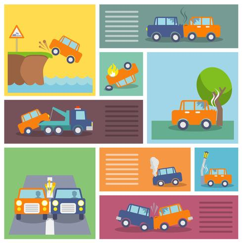 Icônes d'accident de voiture vecteur