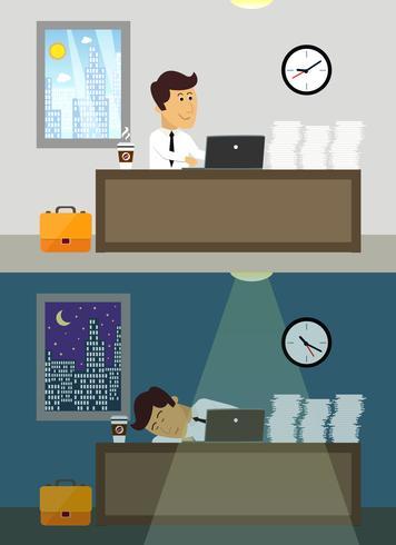 Employé de bureau jour et nuit vecteur