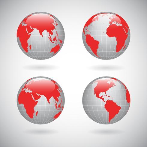 Ensemble d'icônes globe terrestre vecteur