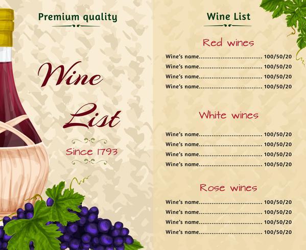 Modèle de carte des vins vecteur