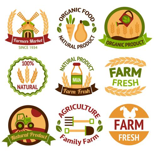 Insignes de récolte et d'agriculture vecteur
