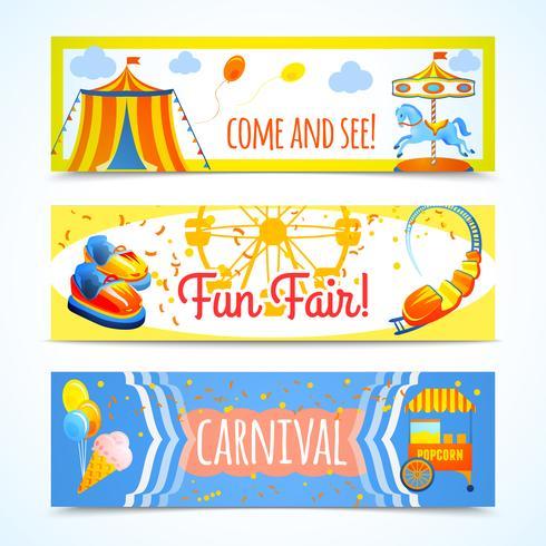 Bannières de carnaval horizontales vecteur