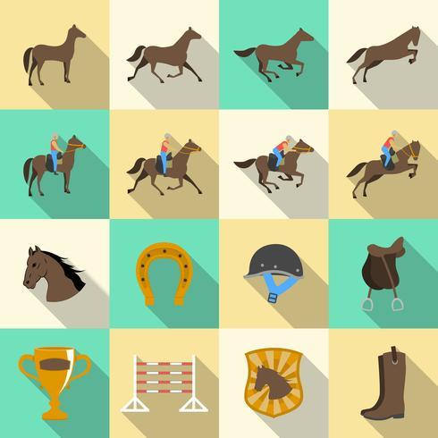 Équitation plat ombres icônes définies vecteur
