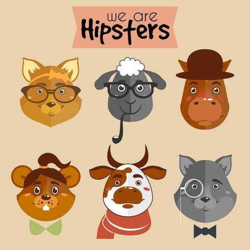 Collection d'animaux de personnage de dessin animé hipster vecteur