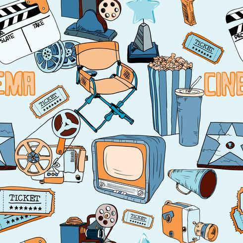 Doodles cinema color seamless_SimilarS vecteur