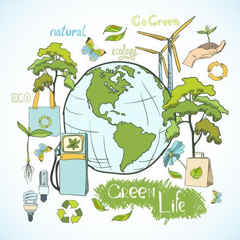 Concept d'écologie et d'environnement Doodles vecteur