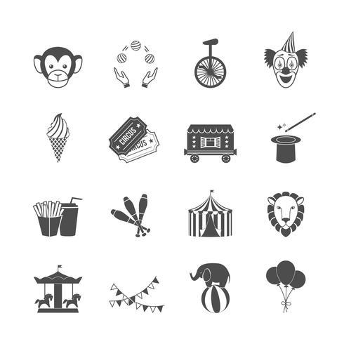 Jeu d'icônes de cirque vecteur