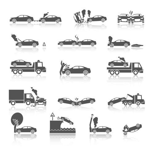 Icônes d'accident de voiture noir et blanc vecteur