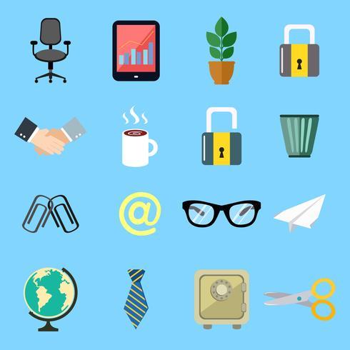 ensemble d'icônes d'affaires plat vecteur