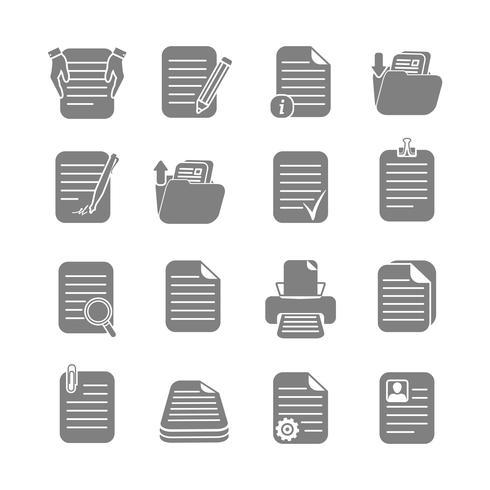 Jeu d'icônes de fichiers et dossiers de documents vecteur