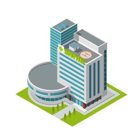 Construction d'un hôpital isométrique vecteur