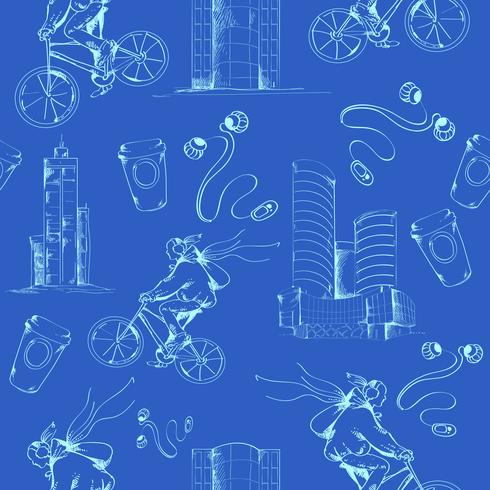 Modèle sans couture de ville Blueprint vecteur