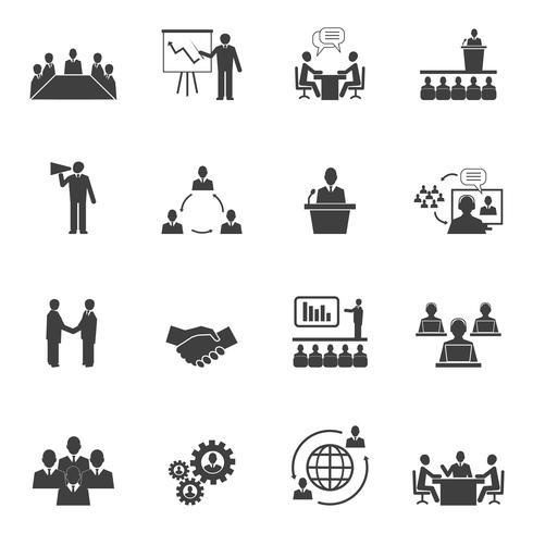 Rencontrer des gens en ligne des icônes vecteur