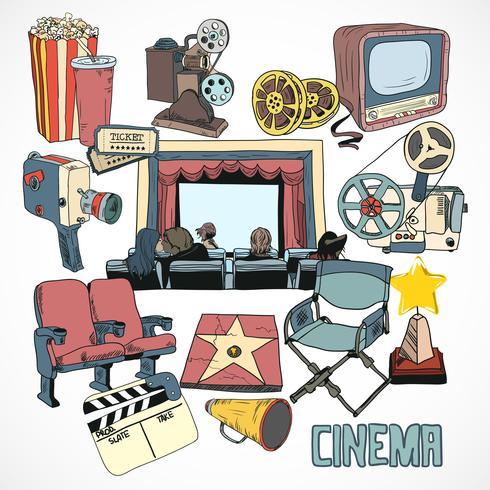 Affiche de concept de cinéma vintage vecteur