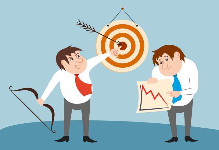 Concept de gagnant et perdant de personnages d'affaires vecteur