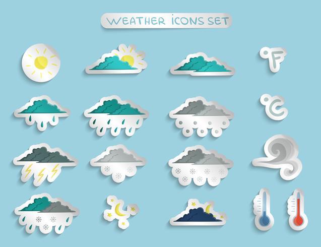Autocollants ou badges de prévisions météorologiques vecteur