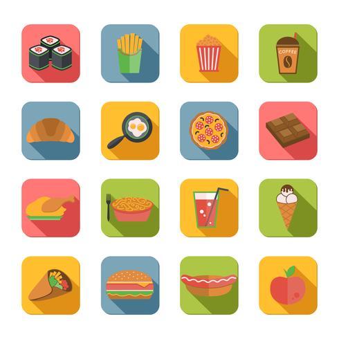 icônes de la restauration rapide à plat vecteur