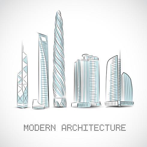 Collection de bâtiments de gratte-ciel modernes vecteur