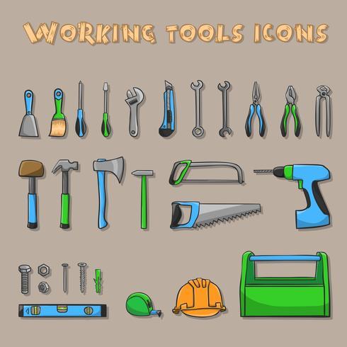Jeu d'icônes de la boîte à outils de travail vecteur