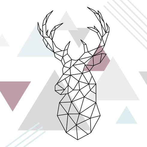 Illustration géométrique de Rennes. Dessin au trait poly faible. Cerf sauvage. Style scandinave. vecteur