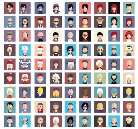 Avatars de personnes avec des arrière-plans colorés vecteur
