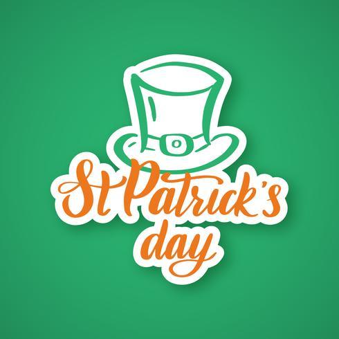 Le jour de la Saint-Patrick. Autocollant de typographie dessiné à la main vecteur
