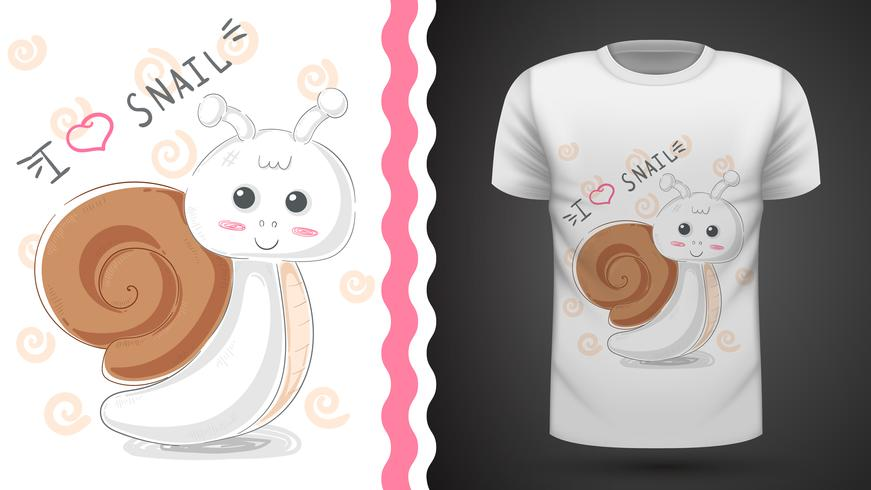 Cute escargot - idée de t-shirt imprimé vecteur