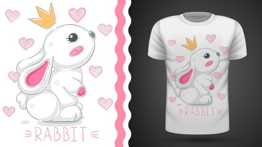 Princesse lapin - idée d'un t-shirt imprimé. vecteur