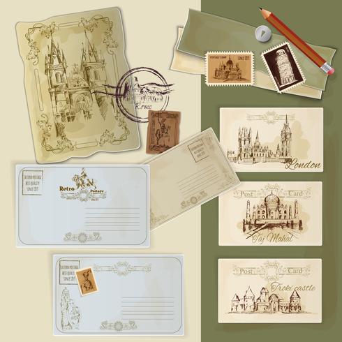 Set de cartes postales d'époque vecteur