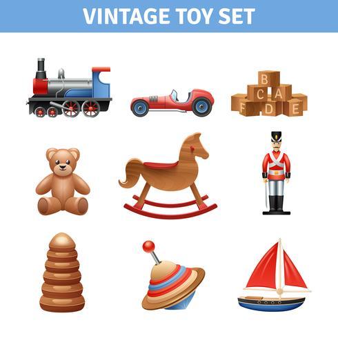 Jeu d'icônes de jouets vintage vecteur