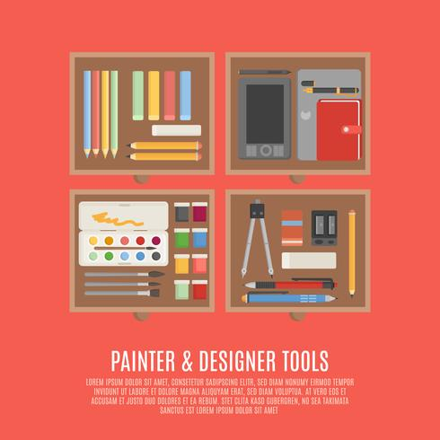 Concept d'outils de peintre et de concepteur vecteur