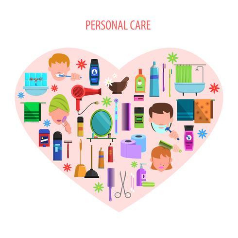 Affiche emblème coeur soins personnels vecteur