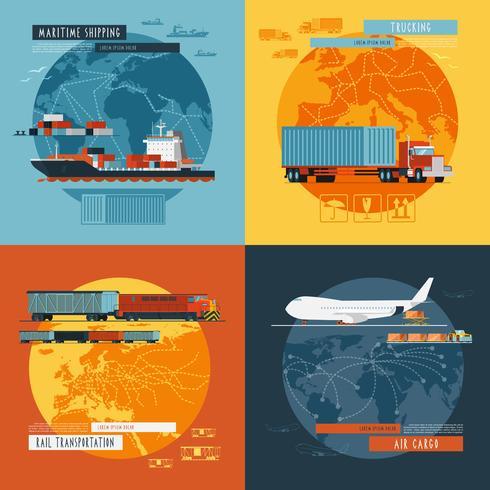 Bannière d'icônes plat Logistic4 vecteur