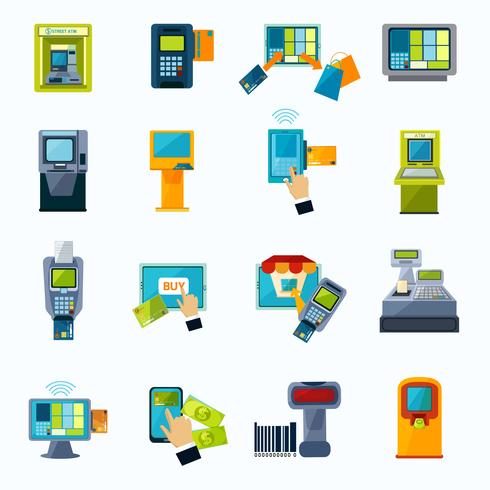 ensemble d'icônes plat paiement atm vecteur