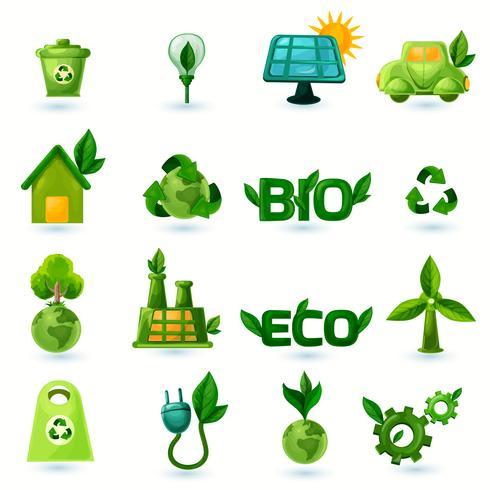 ensemble d'icônes vert écologie vecteur