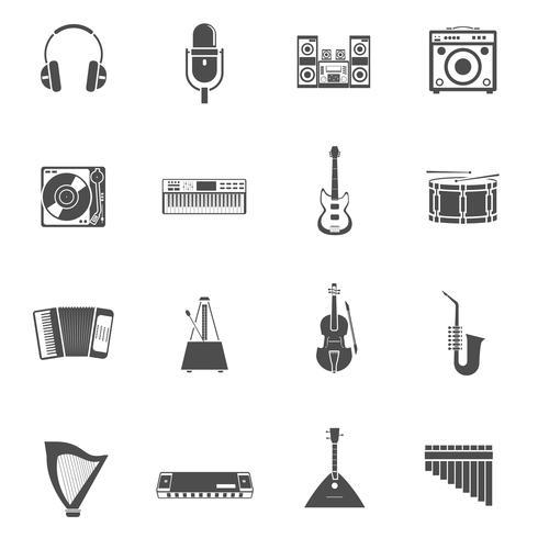 Ensemble d'icônes d'instruments de musique vecteur