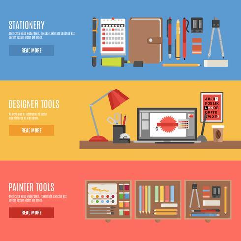 Ensemble de bannières d'outils de peintre et de concepteur vecteur