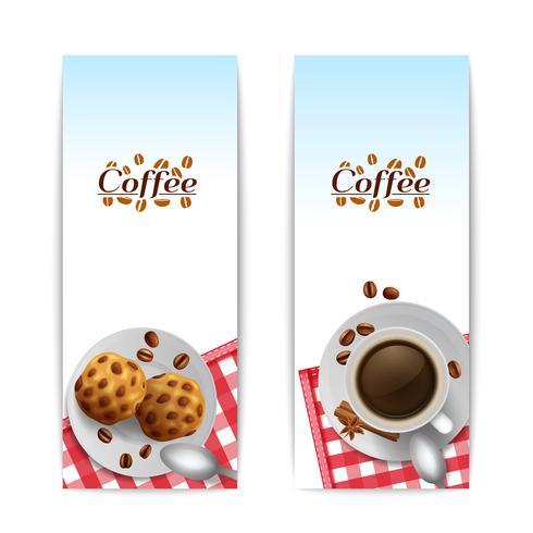 Café avec ensemble de bannières petit déjeuner cookies vecteur