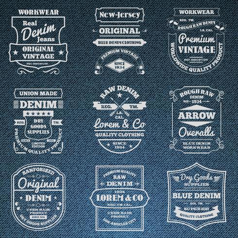 Denim jeans typographie logo emblèmes ensemble vecteur